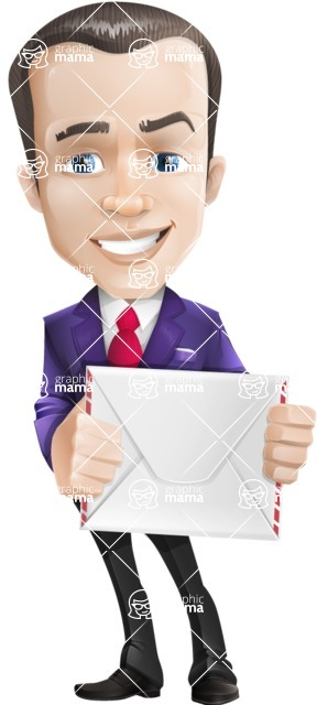business vector cartoon character man graphic design ultra violet color 2018 - Letter