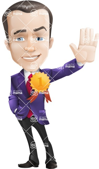 business vector cartoon character man graphic design ultra violet color 2018 - Ribbon