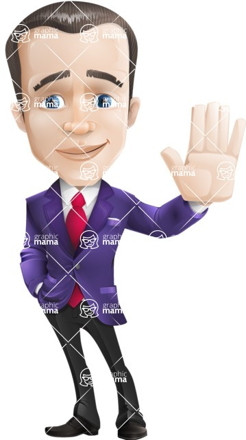 business vector cartoon character man graphic design ultra violet color 2018 - Wave
