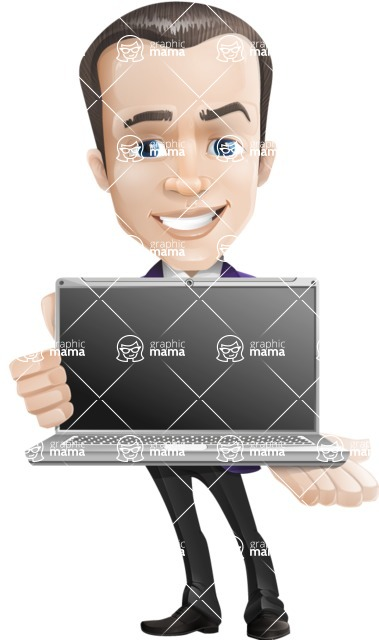 business vector cartoon character man graphic design ultra violet color 2018 - Laptop