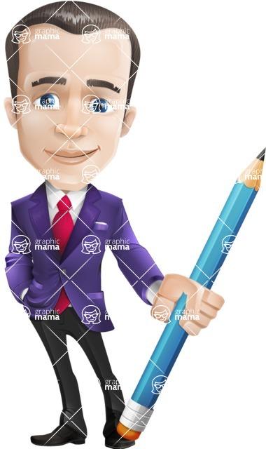 business vector cartoon character man graphic design ultra violet color 2018 - Pencil