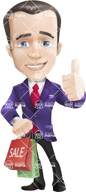 business vector cartoon character man graphic design ultra violet color 2018 - Sale