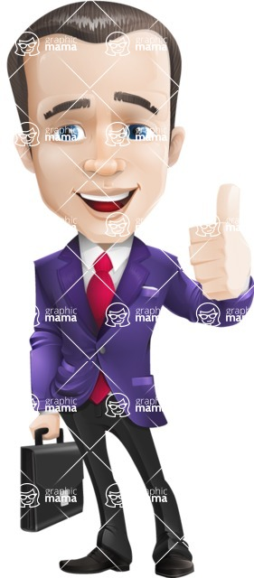 business vector cartoon character man graphic design ultra violet color 2018 - Briefcase