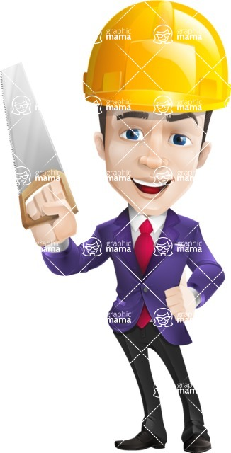 business vector cartoon character man graphic design ultra violet color 2018 - Construction2
