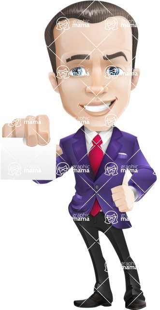 business vector cartoon character man graphic design ultra violet color 2018 - Sign6