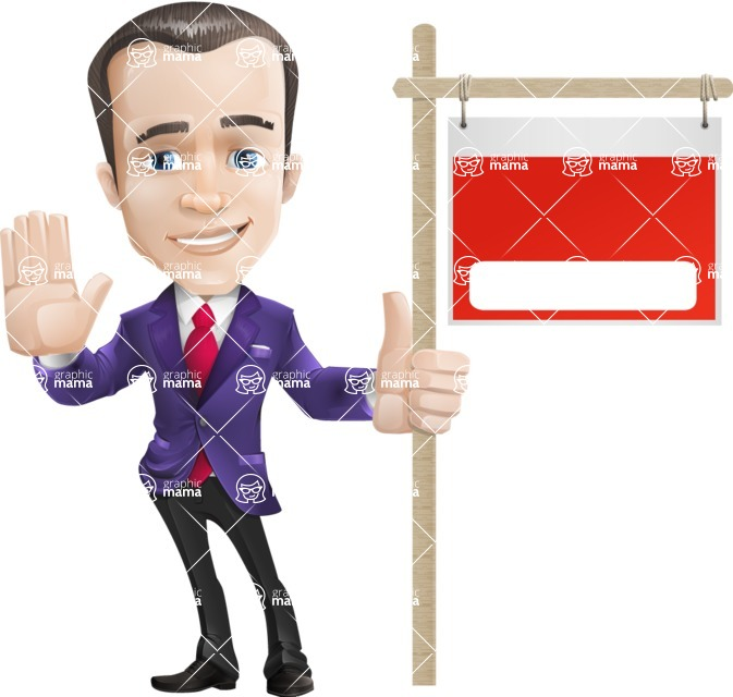 business vector cartoon character man graphic design ultra violet color 2018 - Presentation2