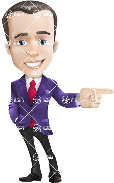business vector cartoon character man graphic design ultra violet color 2018 - Point