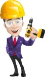 business vector cartoon character man graphic design ultra violet color 2018 - Construction
