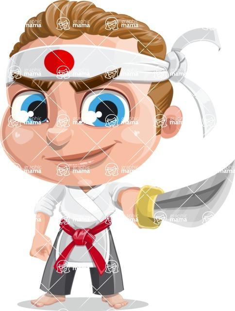 Cute Karate Boy Cartoon Vector Character AKA Combo