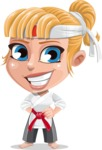 Little Girl with Karate Outfit Cartoon Vector Character AKA Peta - Normal