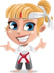 Little Girl with Karate Outfit Cartoon Vector Character AKA Peta - Point 2