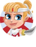 Little Girl with Karate Outfit Cartoon Vector Character AKA Peta - Shape 1