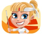 Little Girl with Karate Outfit Cartoon Vector Character AKA Peta - Shape 2