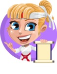 Little Girl with Karate Outfit Cartoon Vector Character AKA Peta - Shape 3