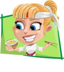 Little Girl with Karate Outfit Cartoon Vector Character AKA Peta - Shape 4