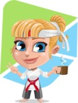 Little Girl with Karate Outfit Cartoon Vector Character AKA Peta - Shape 5