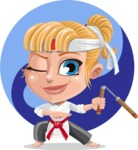 Little Girl with Karate Outfit Cartoon Vector Character AKA Peta - Shape 6