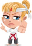 Little Girl with Karate Outfit Cartoon Vector Character AKA Peta - Direct Attention
