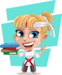 Little Girl with Karate Outfit Cartoon Vector Character AKA Peta - Shape 10