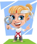 Little Girl with Karate Outfit Cartoon Vector Character AKA Peta - Shape 11