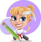 Little Girl with Karate Outfit Cartoon Vector Character AKA Peta - Shape 12