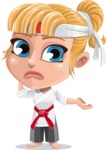 Little Girl with Karate Outfit Cartoon Vector Character AKA Peta - Sorry