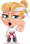 Little Girl with Karate Outfit Cartoon Vector Character AKA Peta - Stop