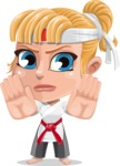 Little Girl with Karate Outfit Cartoon Vector Character AKA Peta - Stop 2