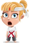 Little Girl with Karate Outfit Cartoon Vector Character AKA Peta - Stunned