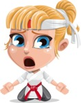 Little Girl with Karate Outfit Cartoon Vector Character AKA Peta - Sad