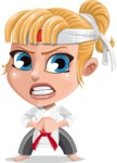 Little Girl with Karate Outfit Cartoon Vector Character AKA Peta - Angry