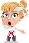 Little Girl with Karate Outfit Cartoon Vector Character AKA Peta - Shocked