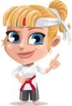 Little Girl with Karate Outfit Cartoon Vector Character AKA Peta - Attention