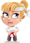 Little Girl with Karate Outfit Cartoon Vector Character AKA Peta - Roll Eyes
