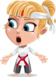 Little Girl with Karate Outfit Cartoon Vector Character AKA Peta - Lost