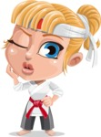 Little Girl with Karate Outfit Cartoon Vector Character AKA Peta - Duckface
