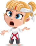 Little Girl with Karate Outfit Cartoon Vector Character AKA Peta - Confused