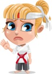 Little Girl with Karate Outfit Cartoon Vector Character AKA Peta - Goodbye