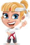 Little Girl with Karate Outfit Cartoon Vector Character AKA Peta - Hello