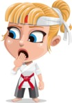 Little Girl with Karate Outfit Cartoon Vector Character AKA Peta - Oops