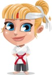 Little Girl with Karate Outfit Cartoon Vector Character AKA Peta - Patient