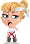 Little Girl with Karate Outfit Cartoon Vector Character AKA Peta - Bored