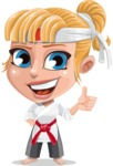 Little Girl with Karate Outfit Cartoon Vector Character AKA Peta - Thumbs up