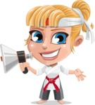 Little Girl with Karate Outfit Cartoon Vector Character AKA Peta - Loudspeaker