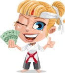 Little Girl with Karate Outfit Cartoon Vector Character AKA Peta - Show me the money