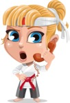 Little Girl with Karate Outfit Cartoon Vector Character AKA Peta - Support