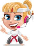Little Girl with Karate Outfit Cartoon Vector Character AKA Peta - Support 2