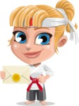 Little Girl with Karate Outfit Cartoon Vector Character AKA Peta - Letter