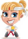 Little Girl with Karate Outfit Cartoon Vector Character AKA Peta - Ribbon