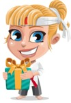 Little Girl with Karate Outfit Cartoon Vector Character AKA Peta - Gift